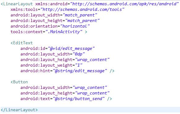 Код простого интерфейса android приложения