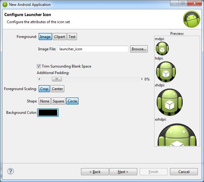 Создание пользовательской иконки для android приложения