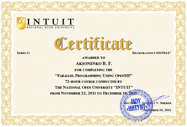 Aksonenko Bogdan's sertifikat - openMP